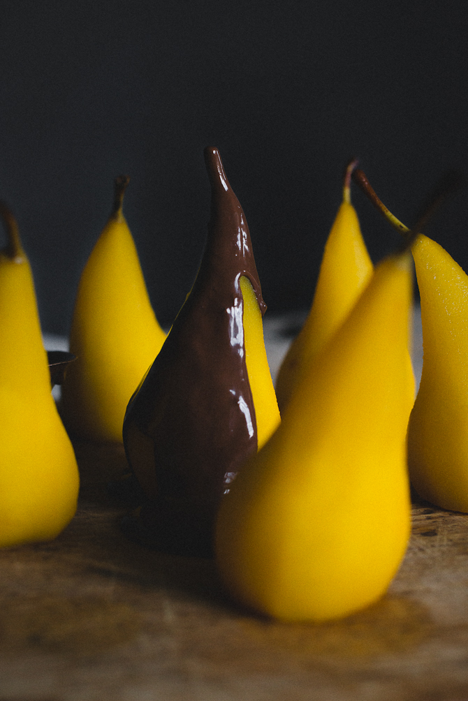 Saffron-Poached Pears with Dark Chocolate